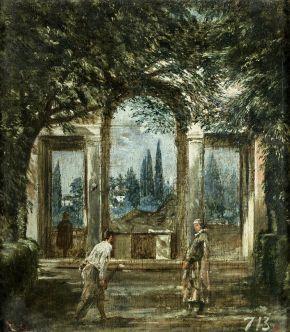 Vue du jardin de la Villa Médicis de Rome - 1630 - huile sur toile - Musée du Prado